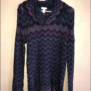 Chico Purple Wool sweater w/scalloped hem.